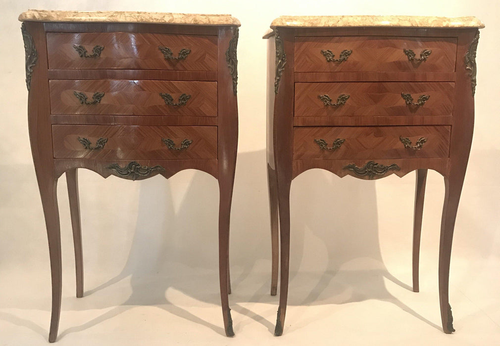 French Inlaid Marble Top Louis XV Nightstands with Three Drawers
