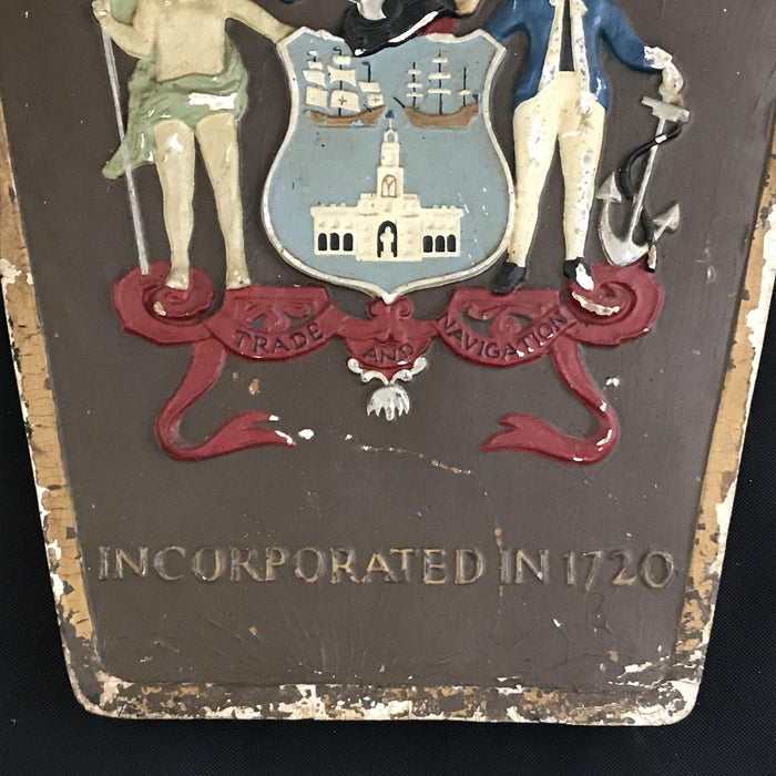 Buy this antique British Royal Exchange Assurance (Insurance) Sign with Coat of Arms/Crest