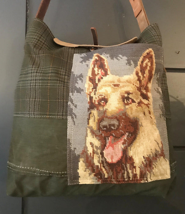 British Hunting Plaid Bag/Purse with embroidered German Shepherd dog for sale