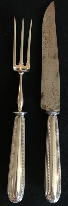 French Antique Silver Sterling Meat Serving Set marked Paris