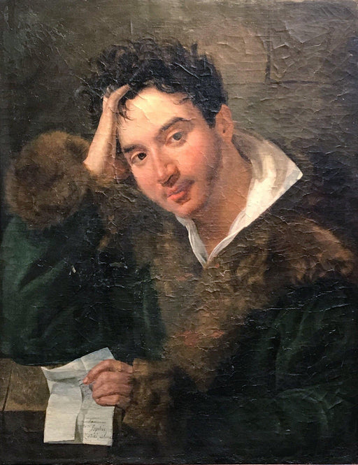Unsigned French Portrait of Young Man Holding Letter