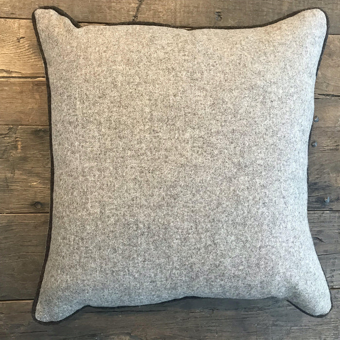 British Wool Flannel Light Brown Pillow with Contrasting Dark Brown Flannel Piping (New) for sale