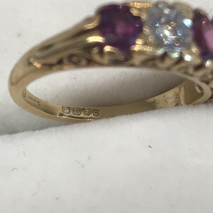 British Ruby and Diamond Band Ring Circa 1900