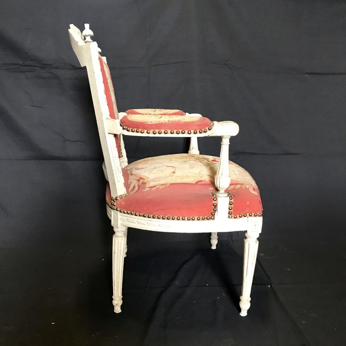 Pair of Period French Louis XVI Chairs with Original Aubusson Upholstery