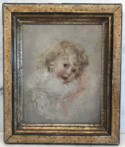 Beautiful Painting on Board of Child: Faux Painted Frame