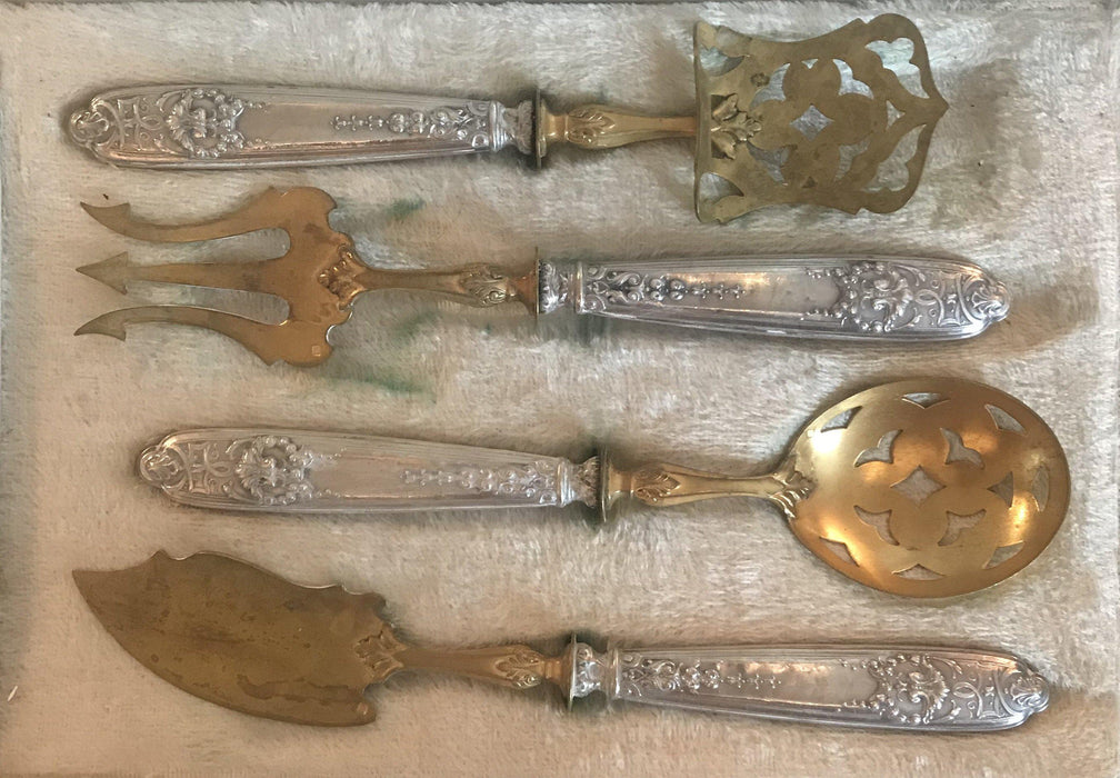French Silver and Gold Dessert Hors D'oeuvre Set Four Pieces with Box: L. Montangerand, Macon for sale