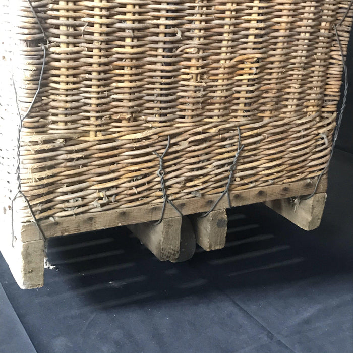 French Large Boulangerie or Bakery Industrial Woven Cart Basket on Wheels - 1 of 2