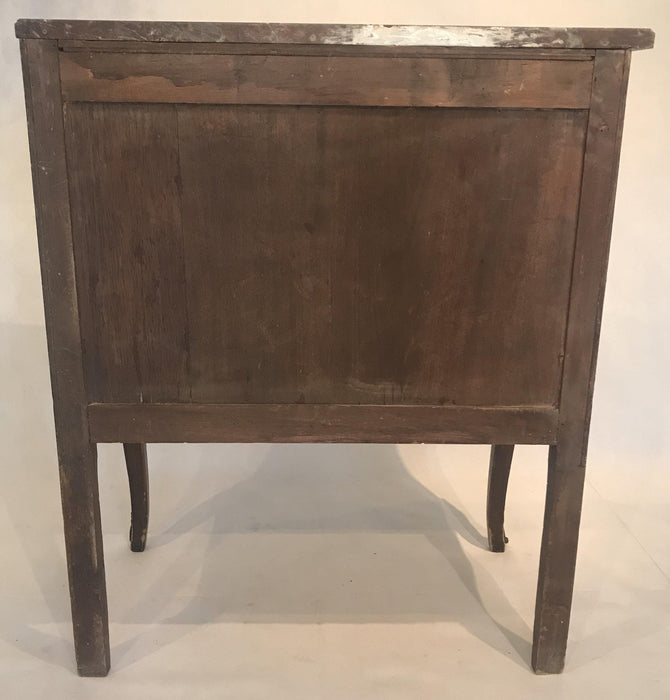 Great French Inlaid Marquetry Three-Drawer Commode with Marble Top