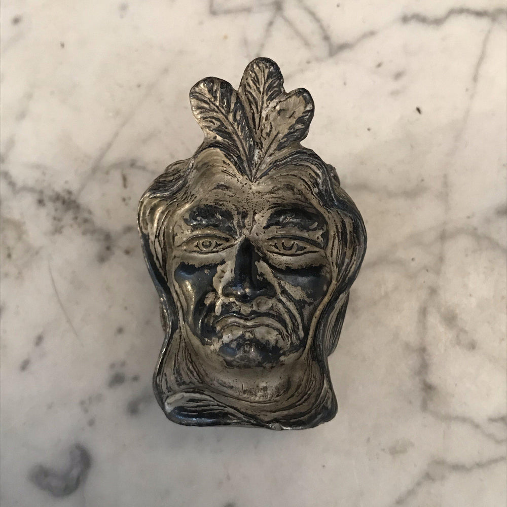 Turn of the Century Antique Silver Indian Head Toothpick Holder