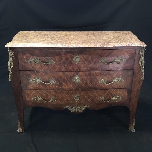 Antique Marble Top French Louis XV Diamond Marquetry Commode Chest of Drawers