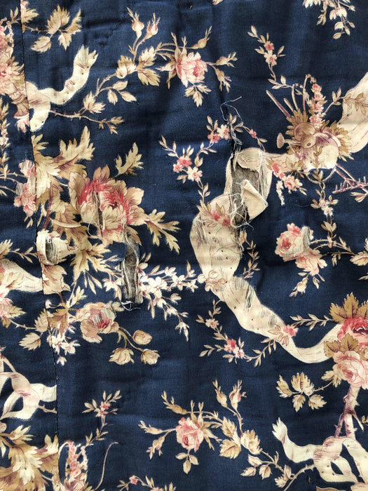 Blue French Floral Quilt for sale
