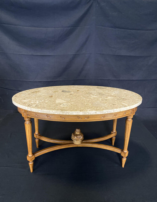 French Louis XVI Style Marble Top Carved Walnut Coffee Table