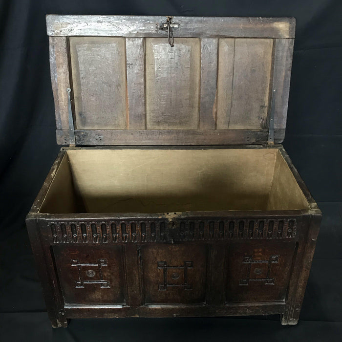 Early French Carved Oak Coffer or Chest