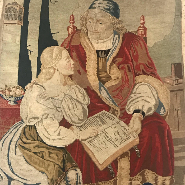 for sale: Early French Embroidery/Tapestry Priest and Maiden