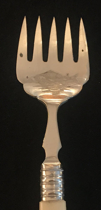 British Silver Fish or Hors d'Oeuvres Fork; Carved Fish on Face
