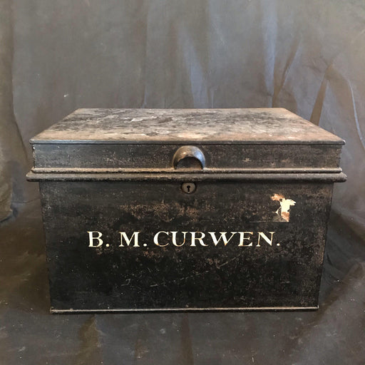 British Antique Original Metal Deed Box B.M. Curwen