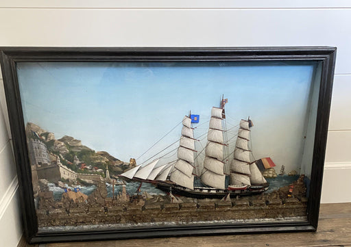 French Ship Diorama with Schooners, Castle and Seaside Landscape