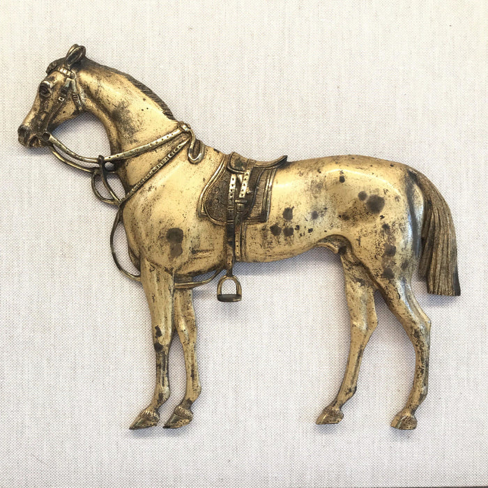buy this gorgeous brass French Brass Horse in Burled Walnut Frame