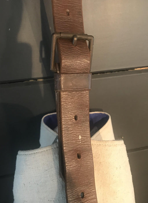 For sale: British Artist-made Purse/Bag: French Quilt and British Flour bag, leather harness handles