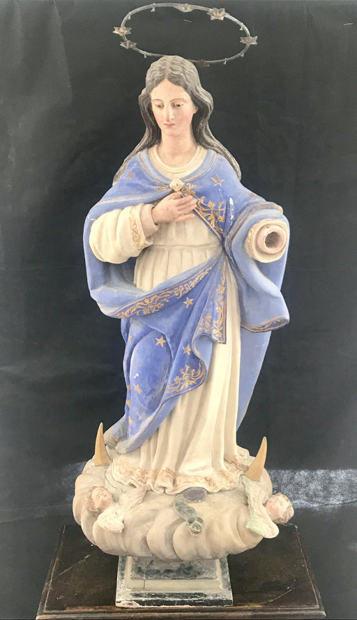Stunning Antique 4 foot tall Immaculata (Bestows Good Fortune) Santos Figure with Glass Eyes from Pamplona, Spain