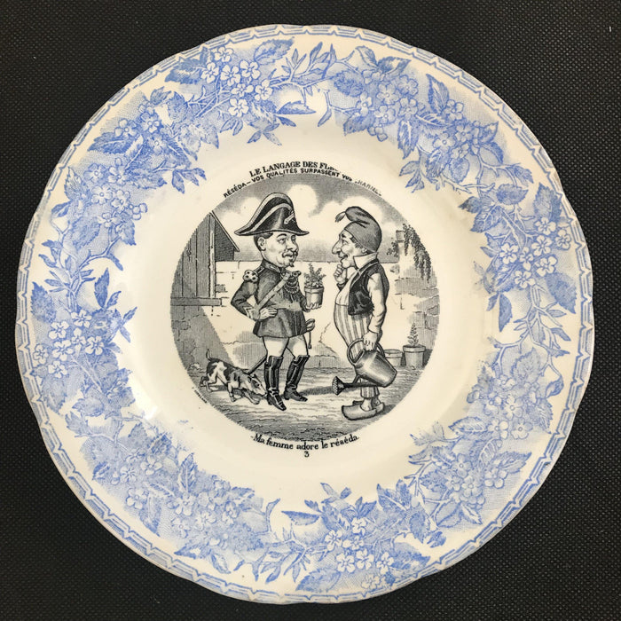 For sale: Set of Five French Plates - Language of Flowers/Le Langage des Fleurs - Humorous!