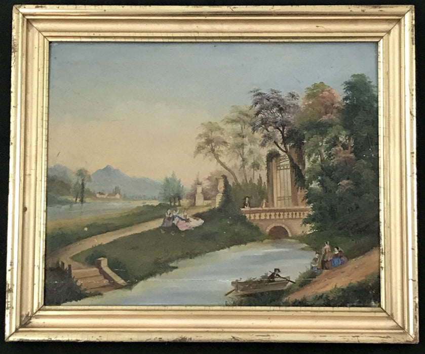 Pair Early Antique European Primitive Paintings on Panel in Lemon Gold Frames