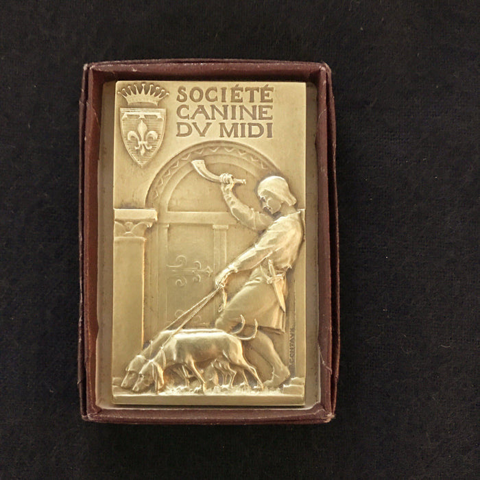 Signed French Dog Medal: Societe Canine Du MIDI in original box for sale