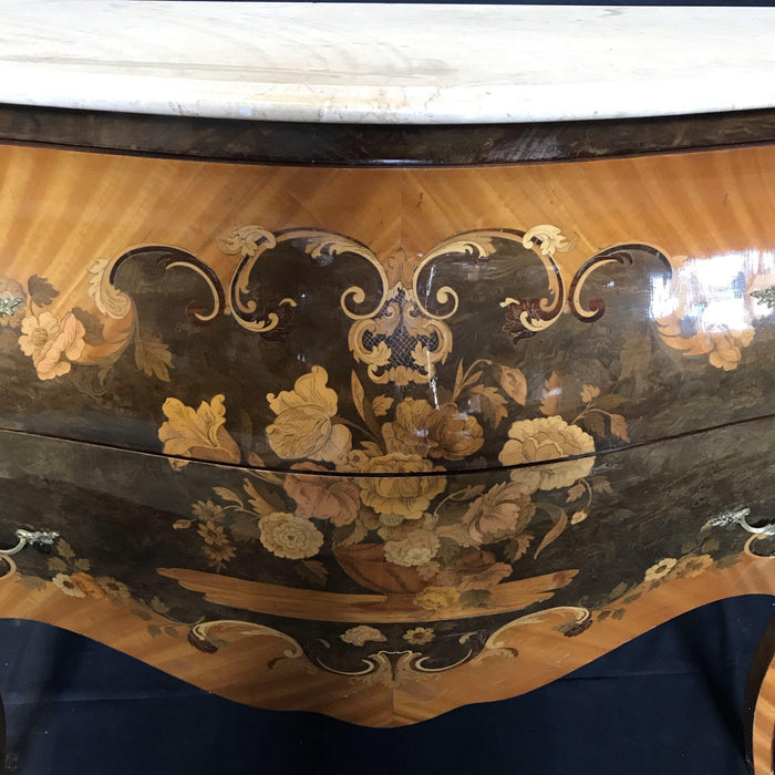 French Marble Topped Louis XV Bombe Commode with Intricate Marquetry