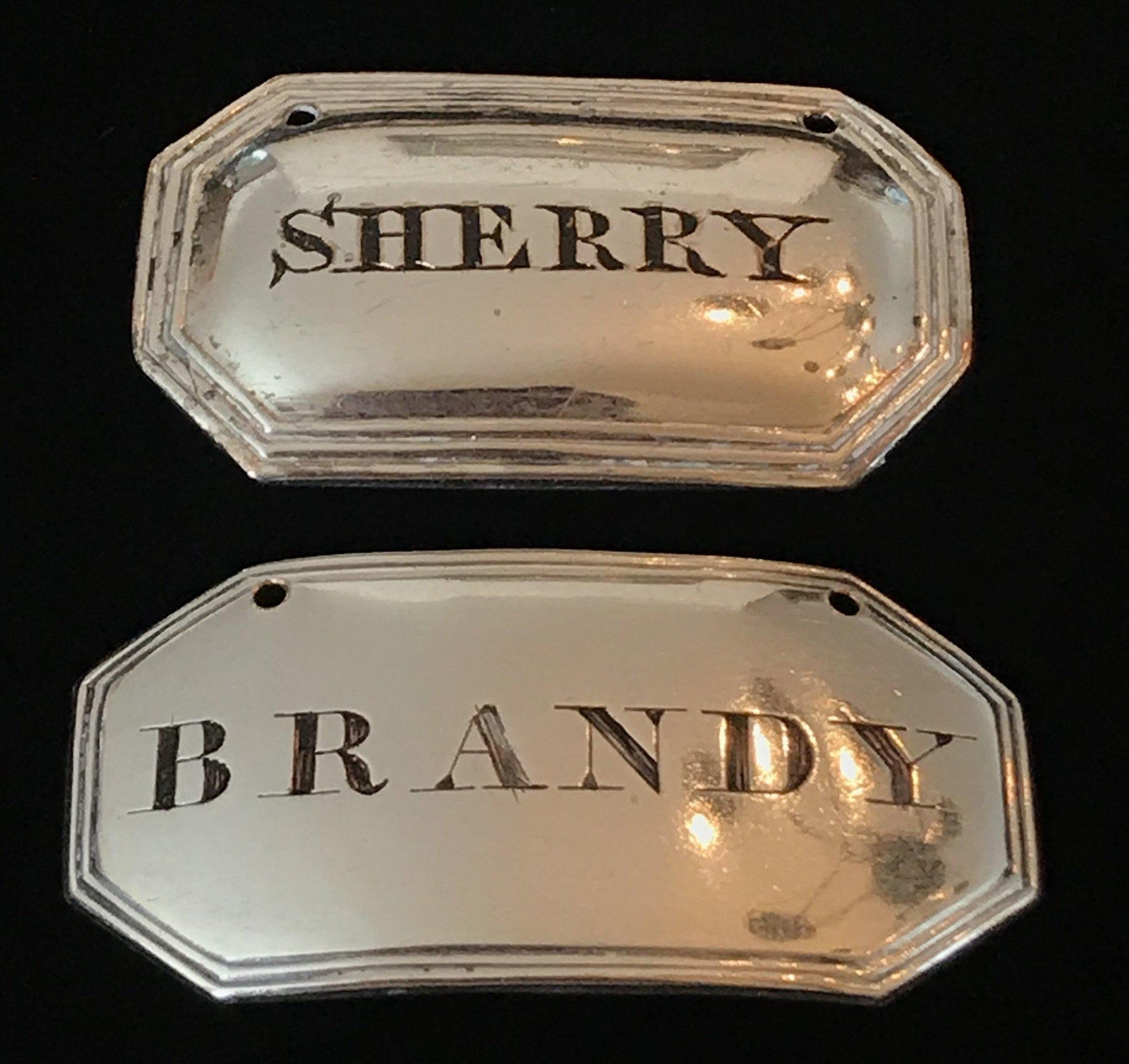 Pair of British Silver c1800 Old Sheffield Labels (2) for sale