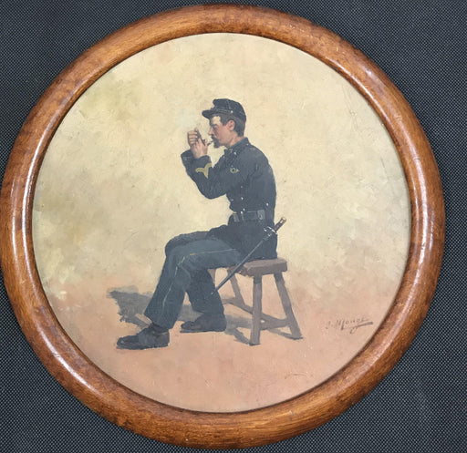 Antique French Oil Painting of Cavalryman Smoking by Listed Artist Jules Monge 1855-1934