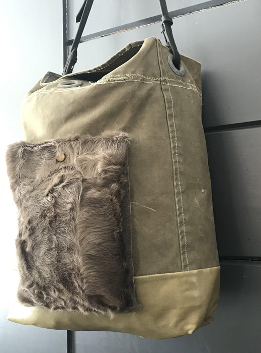 Antique Purse/Bag: RAF Military Kit Bag, Bridle leather handle, leather bottom and fur pocket to sell