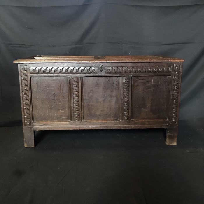 Rare Antique 18th Century Paneled Scottish Coffer Chest with Barley Twist Carving
