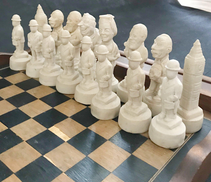 Wonderful British Chess Set of Political figures including Big Ben and Margaret Thatcher for sale