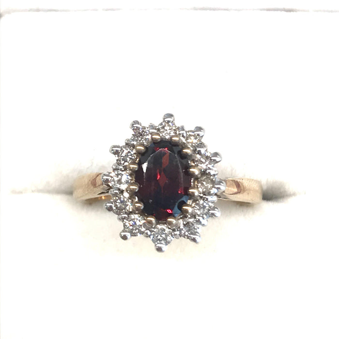 British Diamond and Garnet Ring Flowerhead Cluster Gold Ring