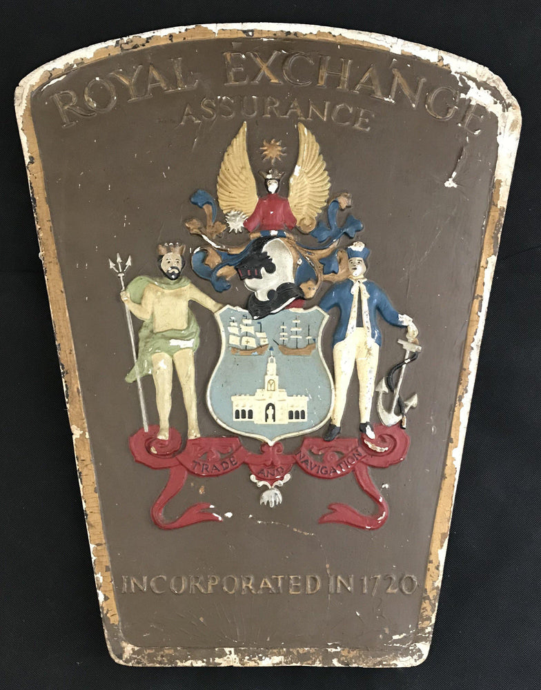 British Royal Exchange Assurance (Insurance) Sign with Coat of Arms/Crest for sale