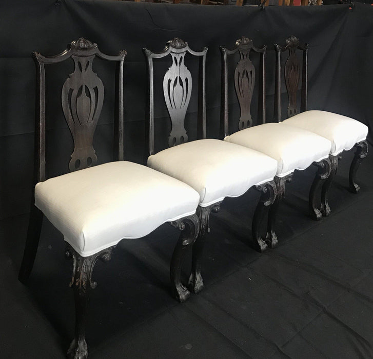Set of Four Carved 19th Century English Chippendale Style Dining Chairs