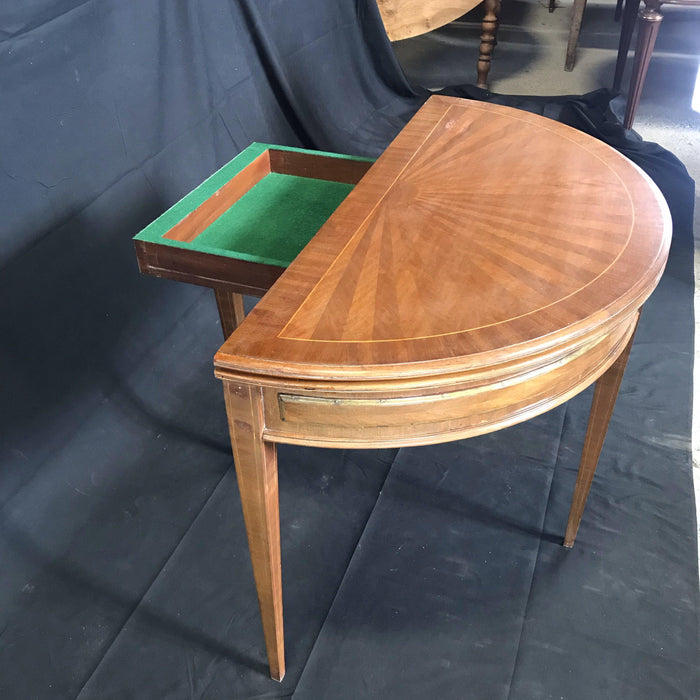 French Demilune Table or Game Table with Original Embossed Leather Interior Surface