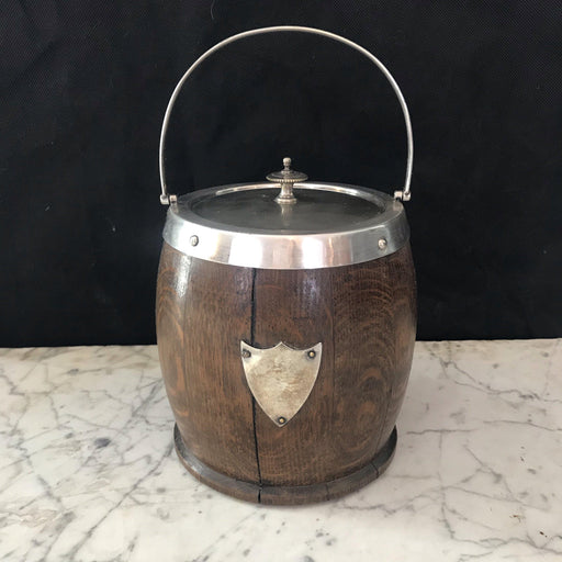 English Oak Biscuit Barrel with Silver Crest