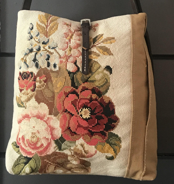 Beautiful British Artist-made bag: French Canvas and Floral Embroidery to sell