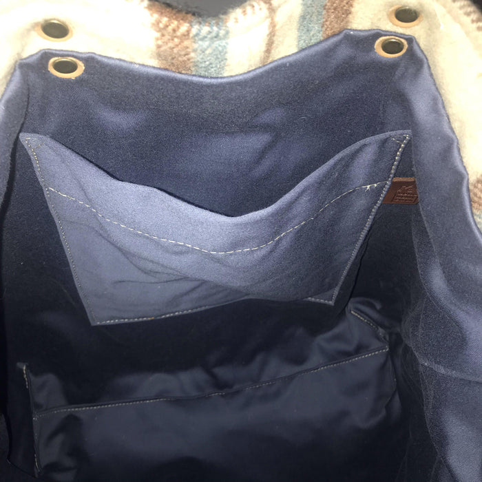 Blue interior Beautiful British Wool Plaid Purse/Bag with Leather Bridle Straps for sale