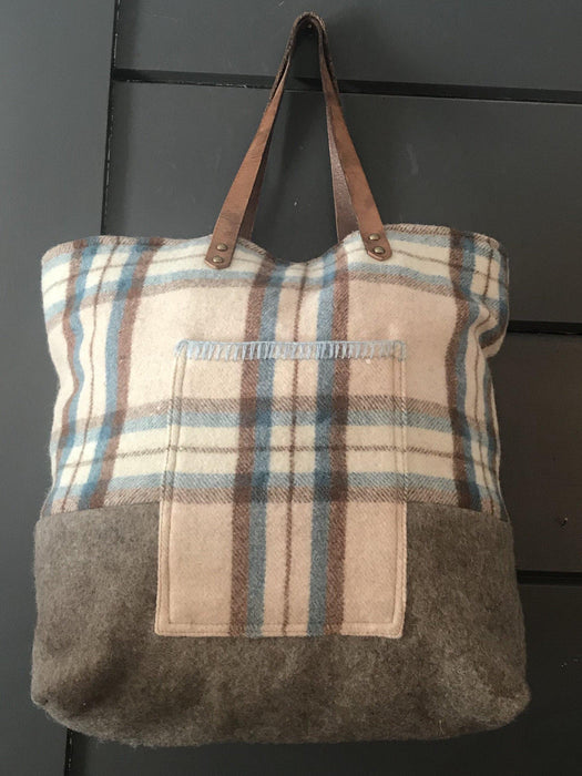Beautiful British Wool Plaid Purse/Bag with Leather Bridle Straps for sale