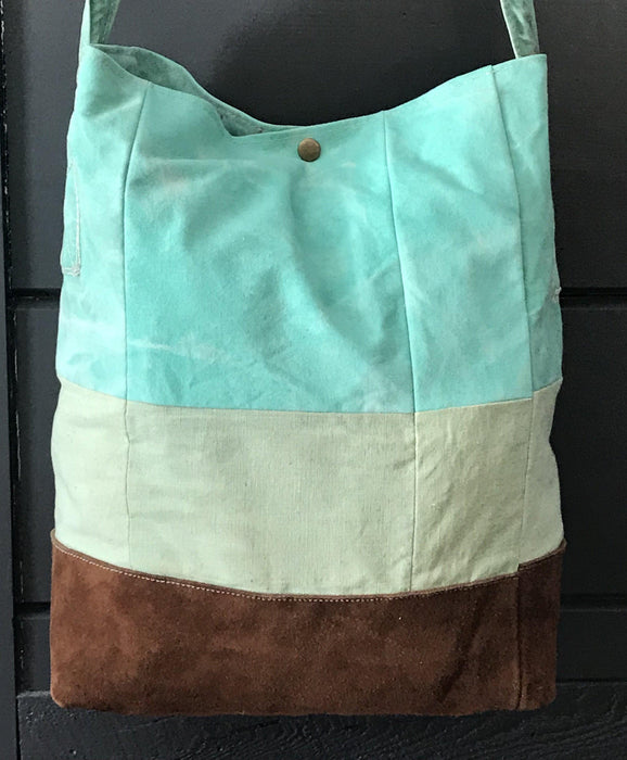 British Artist-made Bag/Purse of vintage turquoise canvas tarpaulin with original handles to sell