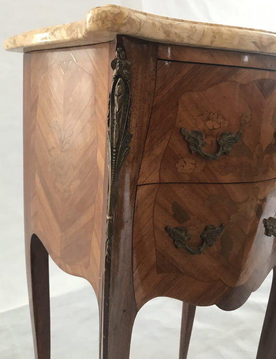 To Buy: Pair of French Inlaid Two-Drawer Marble Top Nightstands