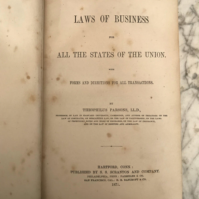 1869 Leather Bound Book Laws of Business by Harvard Law Professor Theophilus Parsons