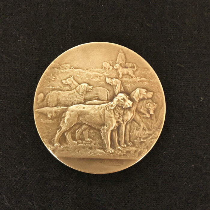 Signed Gold French Dog Medal: Societe Canine Du Sud-Ouest showing many dogs for sale