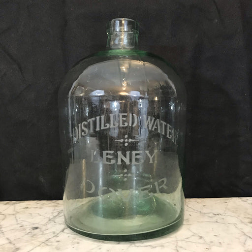 Green Early Glass Antique British Distilled Water Jug: Leney, Dover