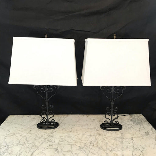 Pair of French Metal Fleur de Lis Lamps
