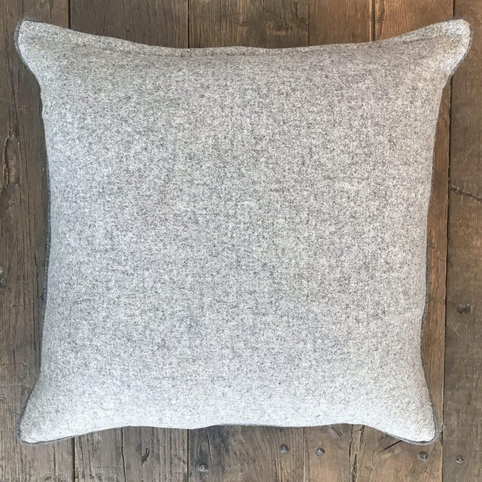 Buy this British Gray Herringbone Wool Pillow, Contrast Piping, Gray Flannel on Reverse (New) gorgeous
