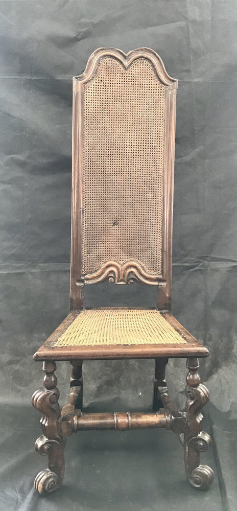 Italian Carved 18th Century Tall Back Caned Chair
