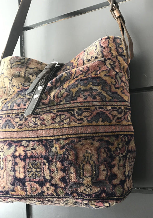 Classic vintage chenille Purse/carpet bag, with vintage leather buckle and military bridle strap for sale